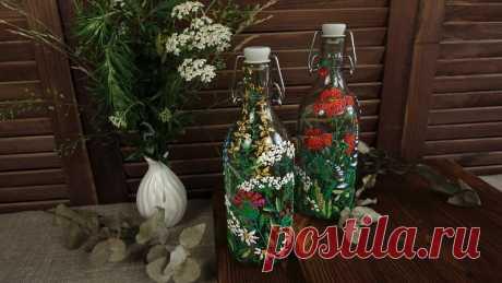 Вышивка по стеклу. Декор бутылок для кухни 🌾 | Творческая студия TAIR | Яндекс Дзен