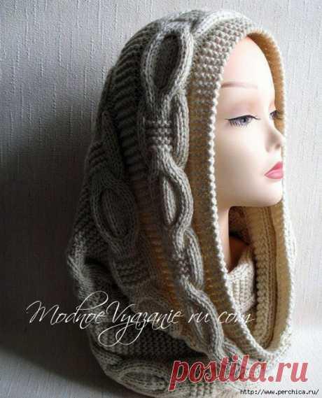 Шикарный шарф снуд рельефными косами
