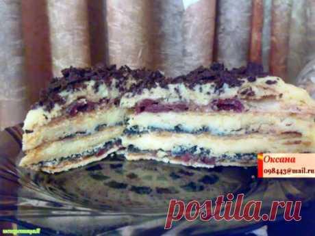Торт-пляцок с вишнями и маком - Хлебопечка.ру