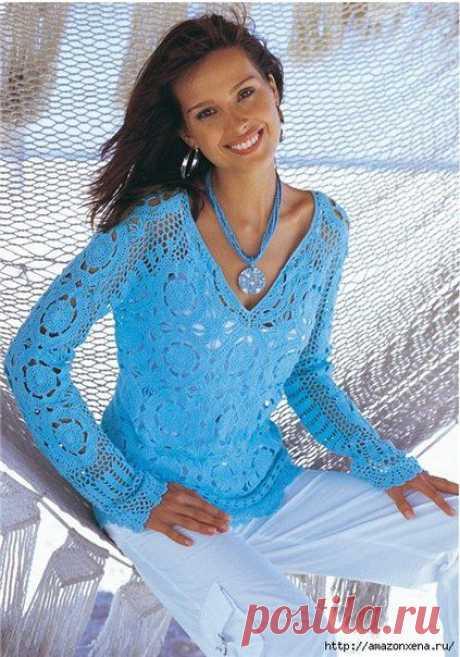 пуловер крючком.