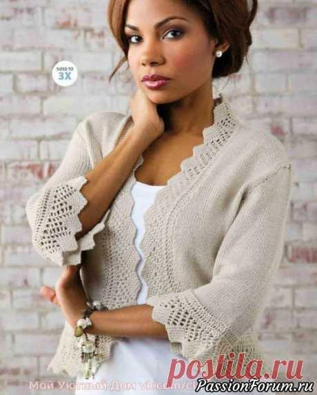 Жакет с красивой каймой спицами | Вязание для женщин спицами. Схемы вязания спицами Описание на английском, но думаю - мастерицы разберутся что к чему