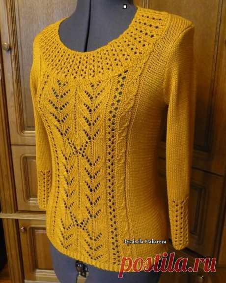Медовый пуловер с красивым рисунком