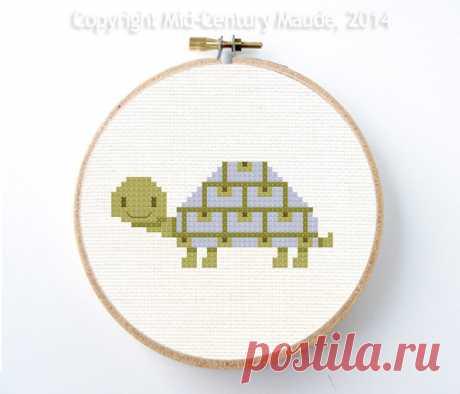 Tortoise Cross Stitch Pattern Instant Download Modern Cute   Etsy