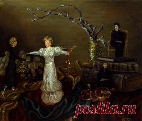 7 картин о принцессе Диане. Танцующая в одиночестве. Холст,масло. 50х60см. картины находятся в Лондоне.