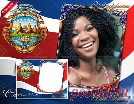 Marco digital con la bandera y escudo de Costa Rica   Marcos y fondos para fotos de ocasiones especiales   Photo Frames
