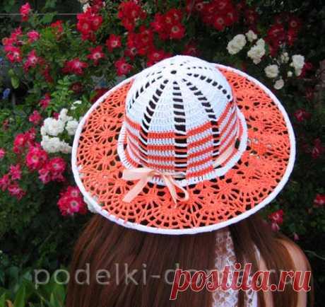 Вязаная шляпа «Оранжевое солнце» - Коробочка идей и мастер-классов Мастер-класс по вязанию крючком шикарной ажурной шляпки на лето. В ней вы будете неотразимы!