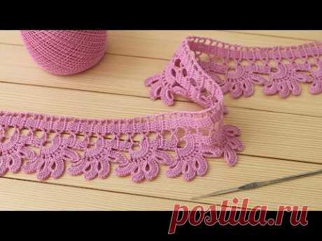 ЦВЕТОЧНОЕ ЛЕНТОЧНОЕ КРУЖЕВО вязание крючком МАСТЕР-КЛАСС Crochet Lace Braid Ribbon Tape Tutorial