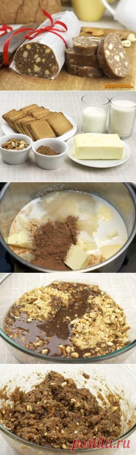 Шоколадная колбаса | Рецепт шоколадной колбасы с фото | Шоколадная колбаса с орехами | Сладкая колбаса | Чайная колбаса на Webspoon.ru
