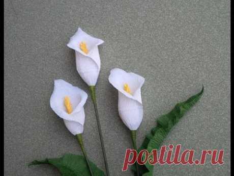 АВС ТV | Как Сделать Цветок Каллы Лилии от Крепированной Бумаги - Учебник Ремесла