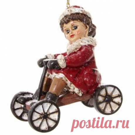 Vintage Retro Christmas Tree Ornament Girl Marie on Bike 9.5 cm, Pendant (ShiShi Vintage Retro Christmas Tree Ornament Girl Marie on Bike 9.5 cm, Pendant (ShiShi)  Article: ID60326  Country: Estonia  Production: China  When creating a new year's pendant, Estonian designers were inspired by vintage Christmas cards and illust...