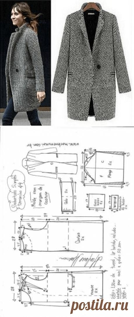 Sobretudo simples | DIY - molde, corte e costura - Marlene Mukai - Moldes Moda