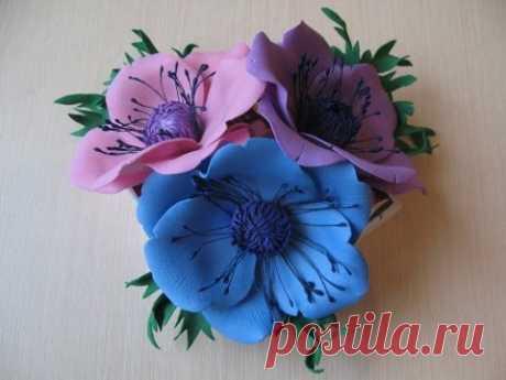 Цветок анемона из фоамирана мастер класс