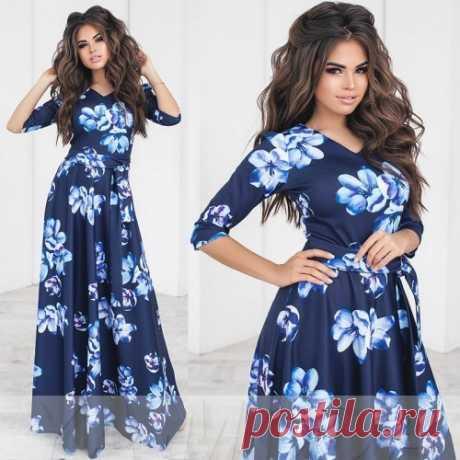 Длинное элегантное платье с цветами