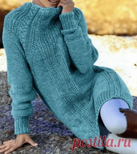 Простой способ связать модное платье с рукавами реглан (Вязание спицами) – Журнал Вдохновение Рукодельницы