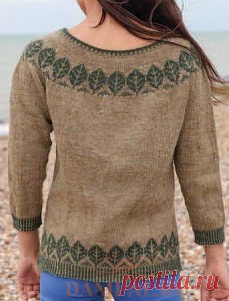 Пуловер с круглой кокеткой «Trees» | DAMские PALьчики. ru