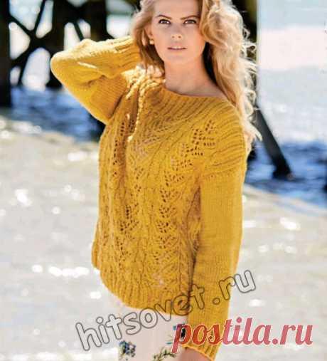 Летний пуловер из хлопка с косами - Хитсовет