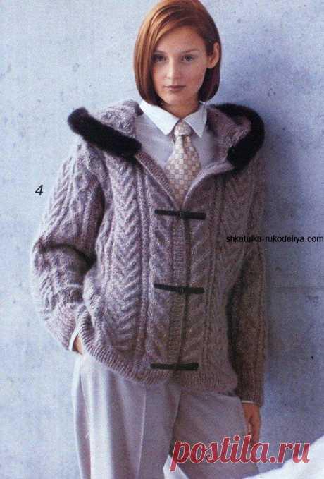 Вязаная куртка спицами на подкладке. Вязаные женские куртки описание