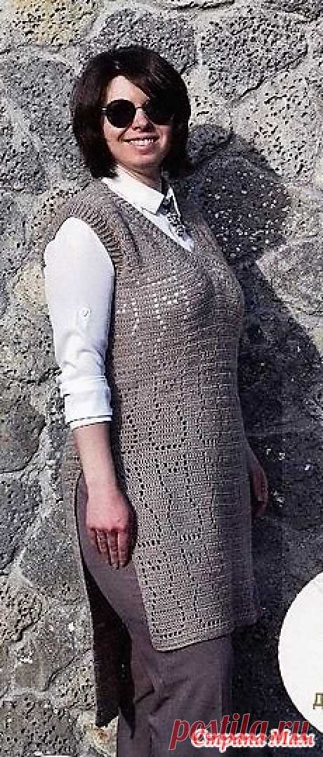 """Удлиненная безрукавка """"КотоВасия"""". Крючок. Вязаная одежда для солидных дам - №3 2021"""