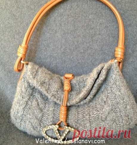 Вязаная сумка спицами от Valentino   Вяжем с Лана Ви