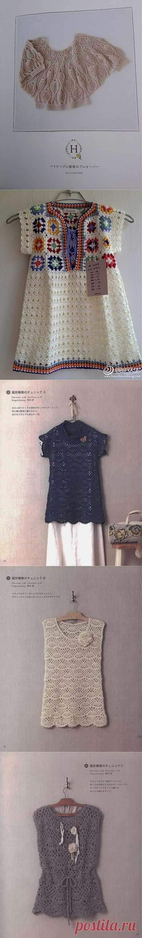 Вязаные блузы и схемы..