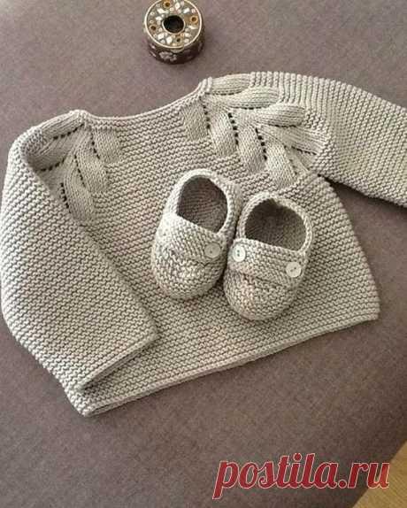 Кофточка с листиками для малыша (Вязание спицами) – Журнал Вдохновение Рукодельницы