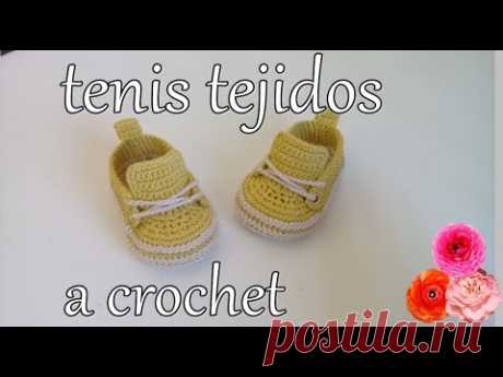 Tenis de bebe a ganchillo - crochet - tejido - ganchillo - YouTube