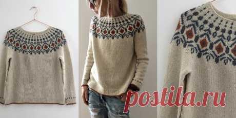 Пуловер с жаккардовой кокеткой Tiberius - Вяжи.ру