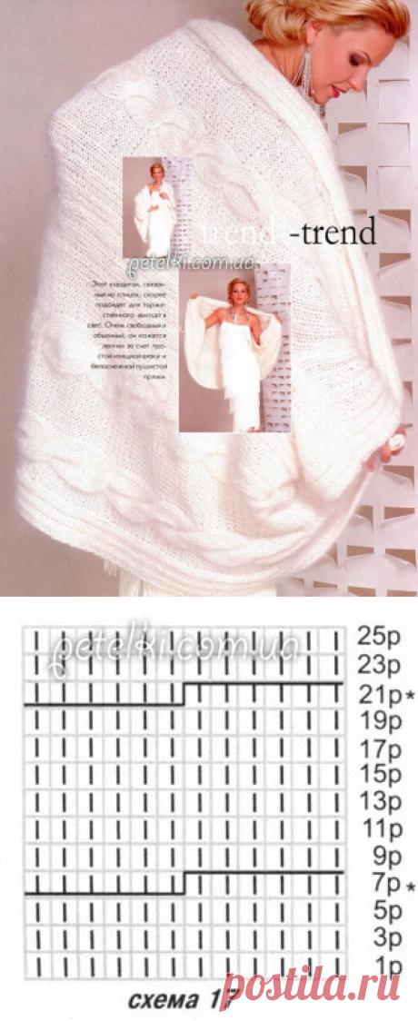 Шикарная белоснежная накидка-кардиган спицами. Описание, схемы