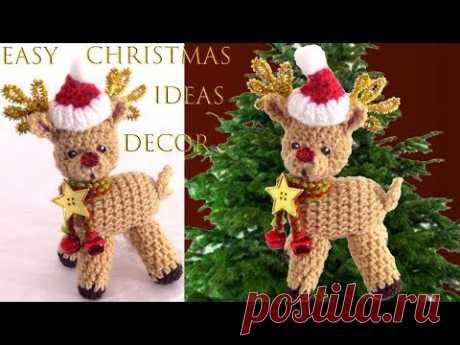 Рождественские идеи Как сделать Родольфо связанного крючком оленя Легкие рождественские идеи