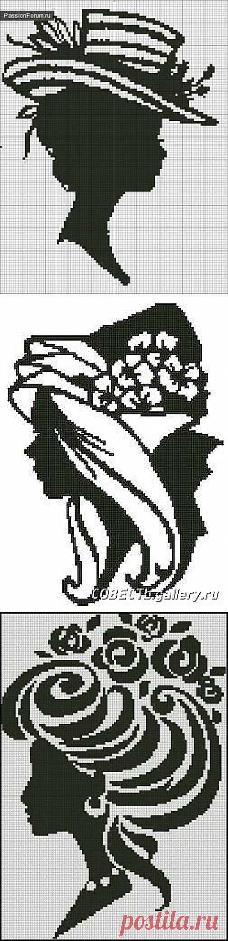 МОНОХРОМ. ПОРТРЕТЫ ДЕВУШЕК / Схемы вышивки крестиком / PassionForum - мастер-классы по рукоделию