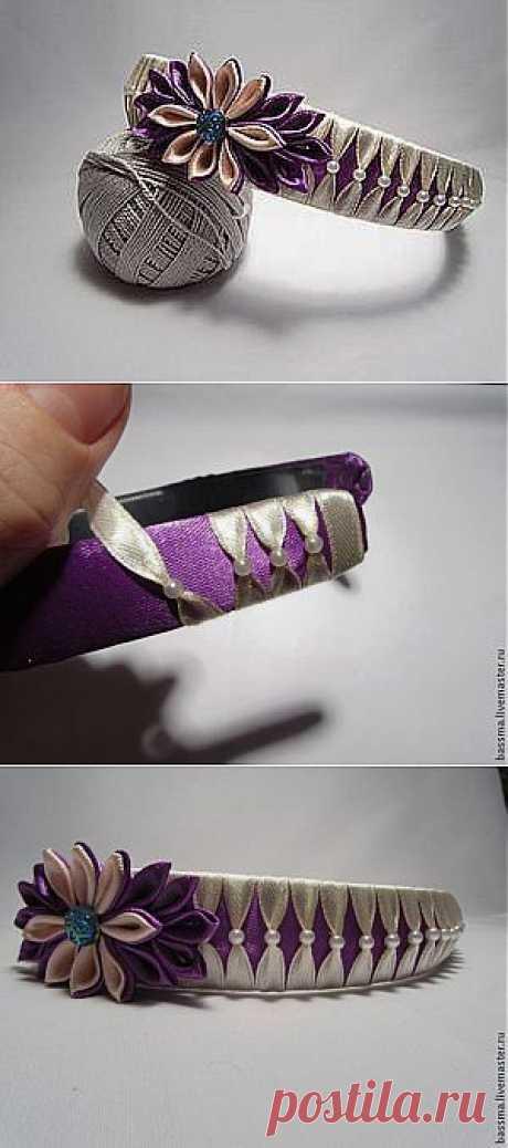 Opletenie obodka por las cintas con las cuentas - la Feria de los Maestros - la labor a mano, handmade