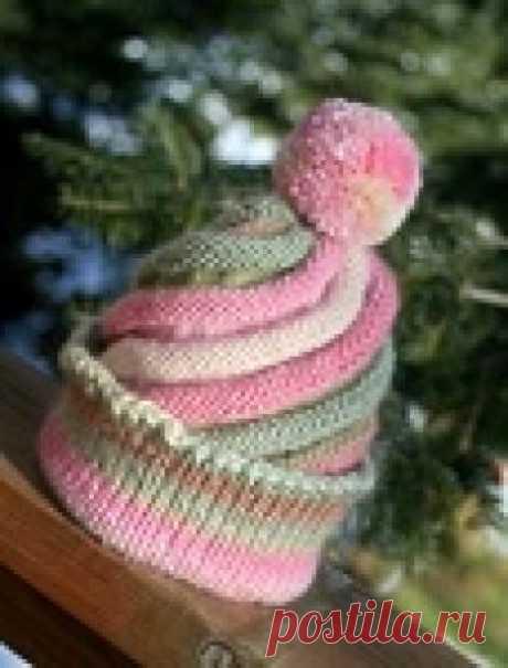 Красивая спиральная шапочка спицами - мастер-класс по вязанию!