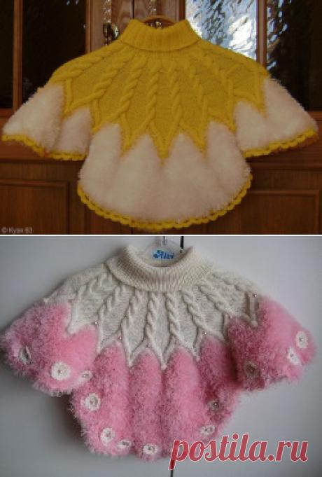 Вязаное пончо для девочки...