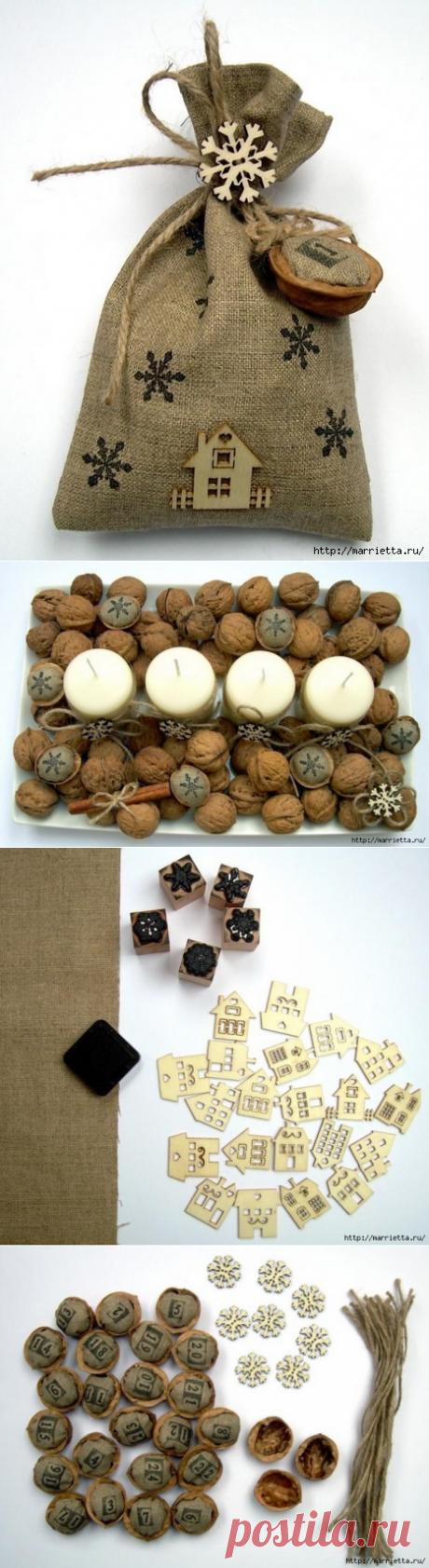 Идеи упаковки новогодних подарков. Шьем мешочки и украшаем их грецкими орехами