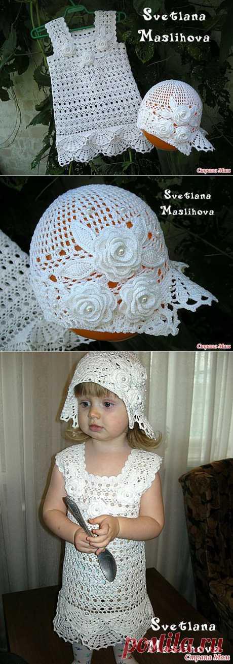 El vestido blanco como la nieve para una pequeña dama + los esquemas.