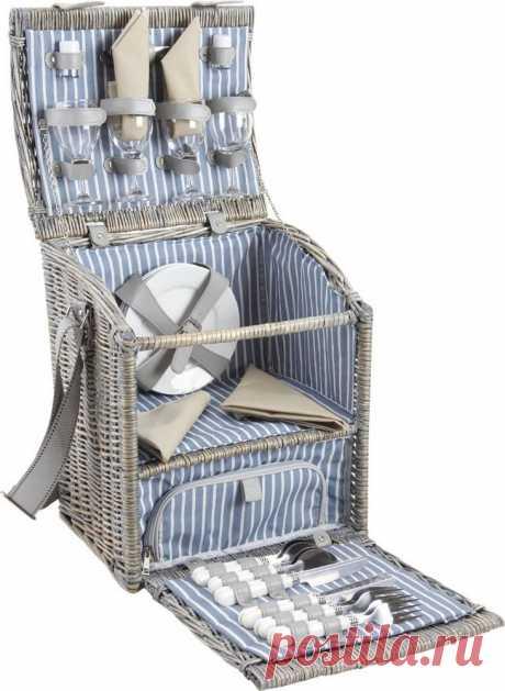 Panier pique-nique en Osier Gris avec compartiment isotherme 35x27x33cm sur