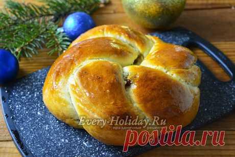 Рождественский калач с изюмом, рецепт с фото