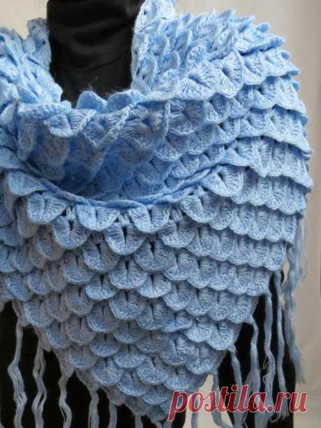 Зимний нежный платок крючком (схема) | Сделуха | Яндекс Дзен