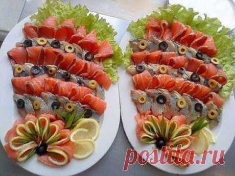 Идеи оформления рыбных нарезок. #Еда@romantika_for_you