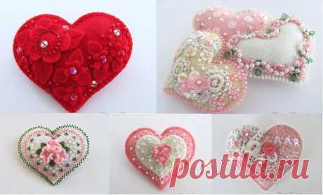 Hearts from felt with patterns - Soft toys the hands from felt, a pattern - Yozhka