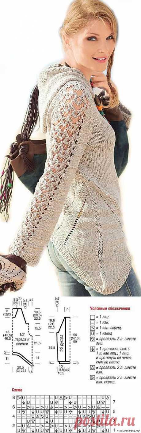 Пуловер с капюшоном в бежевом тоне..