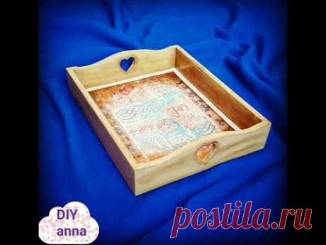 decoupage tray with rice paper DIY shabby chic ideas decorations craft tutorial - YouTube