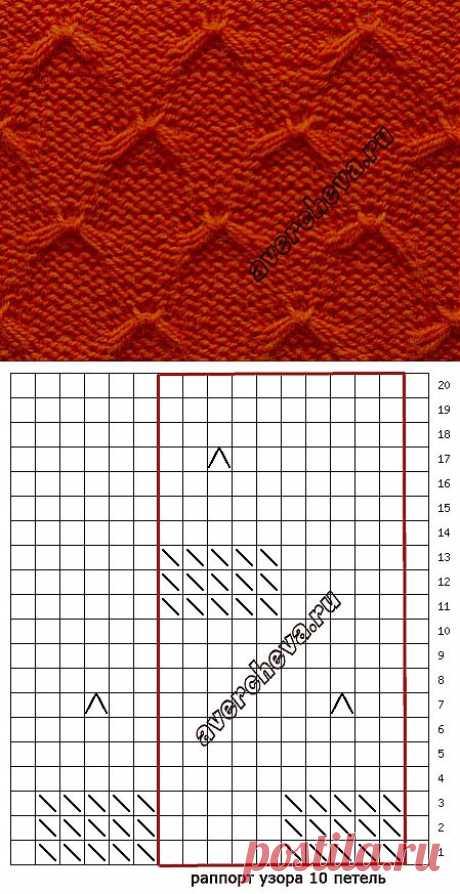 узор 484 из снятых петель | каталог вязаных спицами узоров