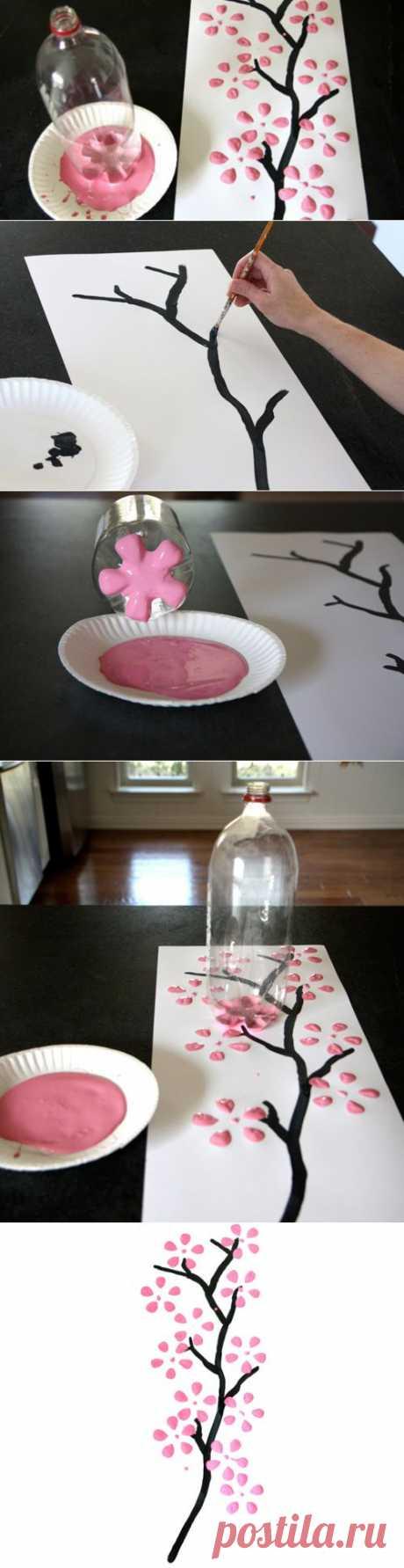 Панно «Сакура»: рисуем бутылкой / Интересные идеи декора / PassionForum - мастер-классы по рукоделию