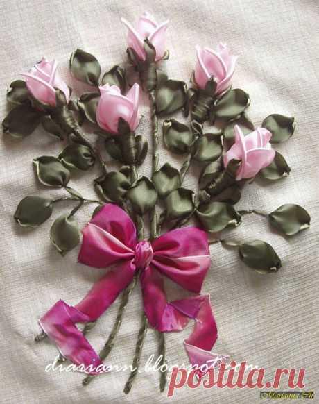 7 способов вышивки лентами бутона розы: освойте все по мастер-классам Крестика! | Крестик
