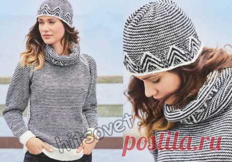 Модный женский пуловер снуд и шапочка