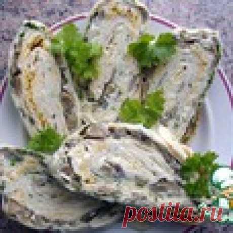 Праздничный рулет из лаваша с грибами Кулинарный рецепт