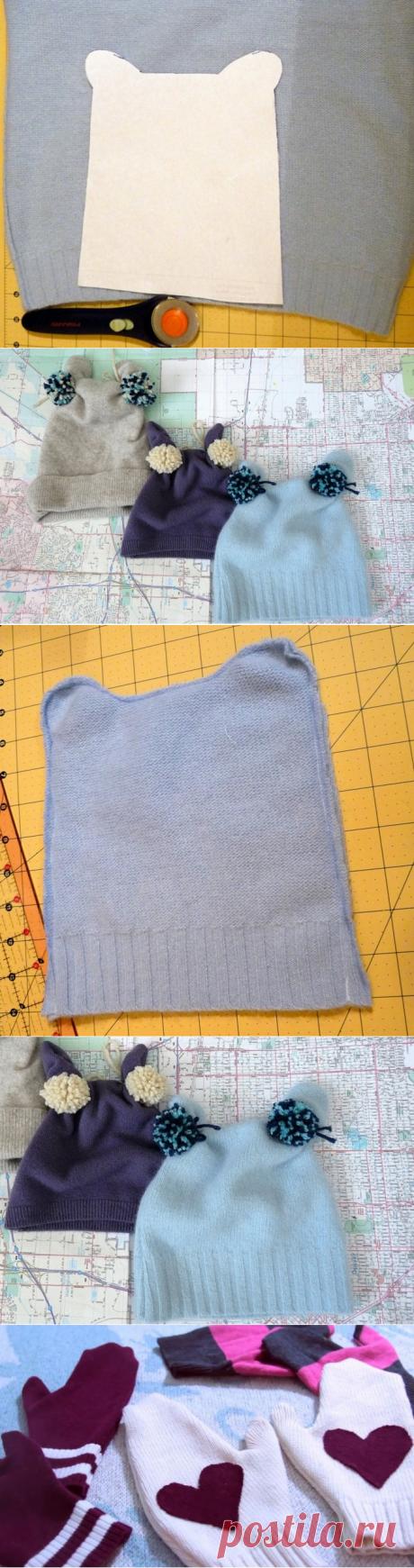 Детские шапочки из старого свитера - просто и быстро! » Женский Мир
