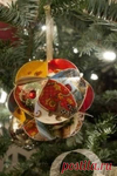 Делаем шары на елку из Новогодних открыток