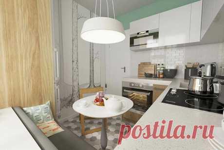 Кухня 6 метров: планировка с холодильником — фото дизайна интерьера